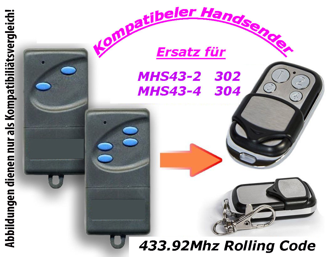 433mhz handsender kompatibel zu garagentor siebau mchs43 2 mnhs433 02 mnhs433 04 ebay. Black Bedroom Furniture Sets. Home Design Ideas