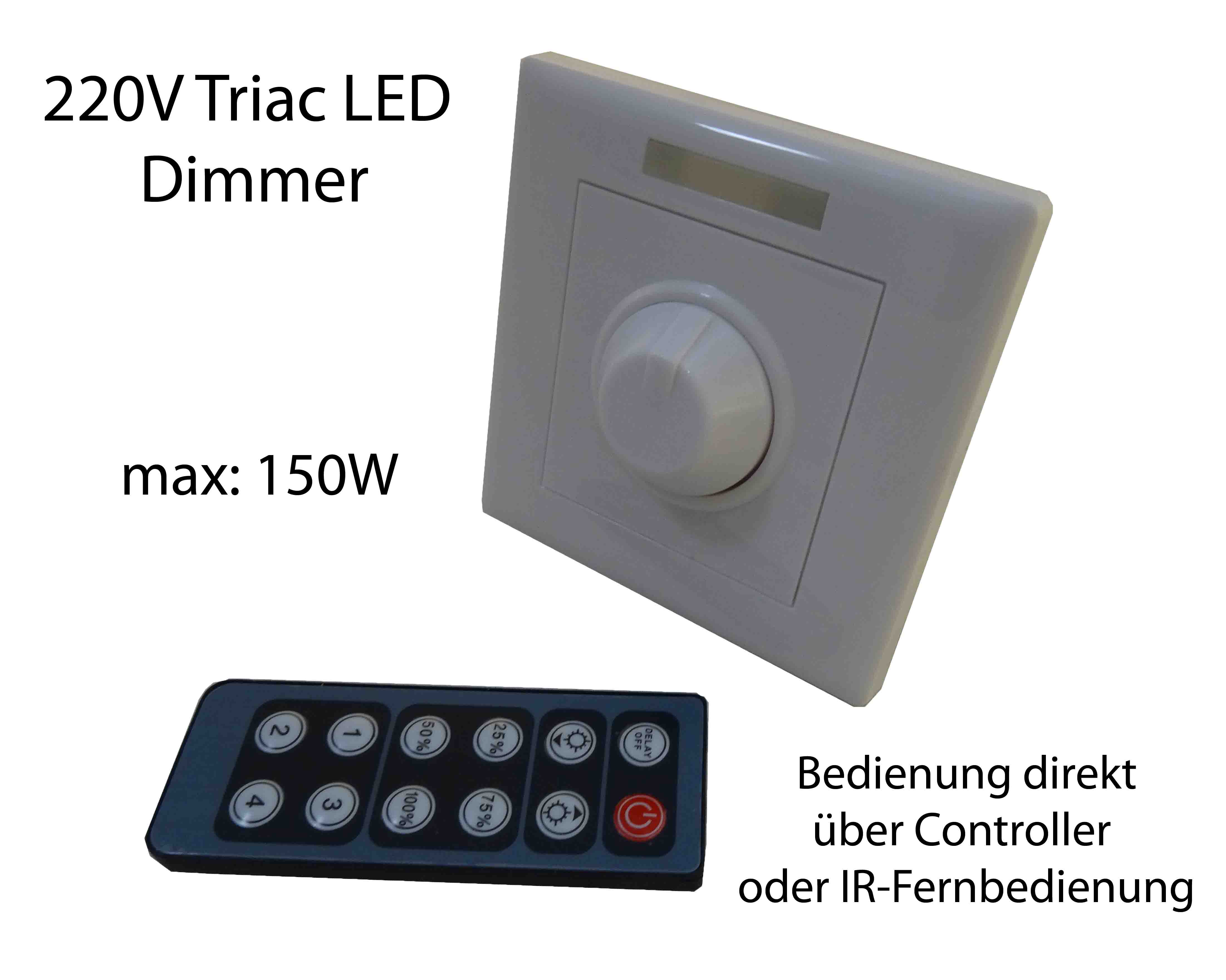 230v led triac leuchtmittel dimmer einbau schalter controller fernbedienung ebay. Black Bedroom Furniture Sets. Home Design Ideas